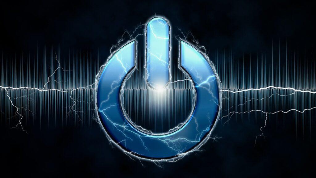電源ボタンと周波